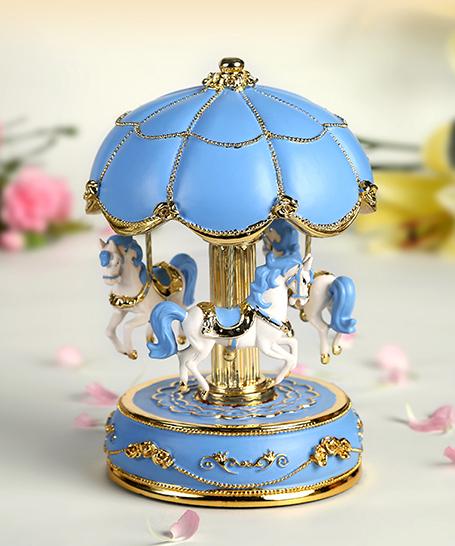 粉蓝金色花朵伞旋转木马音乐盒