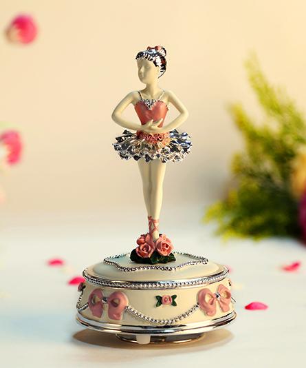 乐加粉红芭蕾舞女孩音乐盒