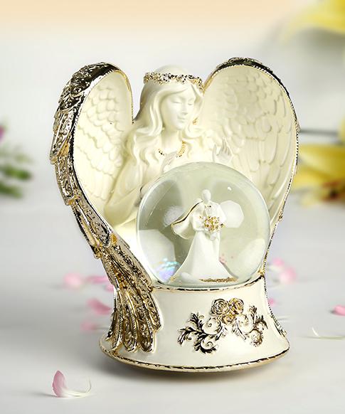乐加七彩闪灯金色天使之翼水晶球音乐盒