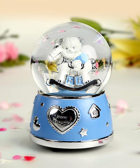 乐加七彩闪灯粉蓝小熊水晶球音乐盒