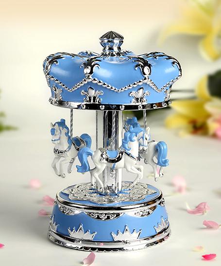 乐加新款粉蓝银色皇冠旋转木马音乐盒