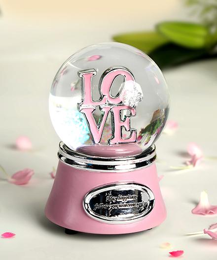 乐加LOVE银色闪灯字母水晶球音乐盒