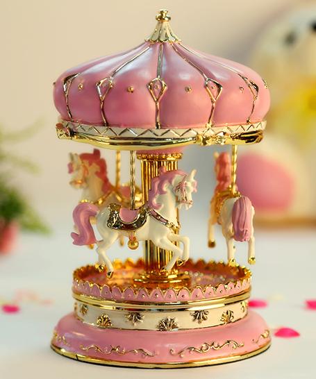 乐加粉红金色城堡旋转木马音乐盒