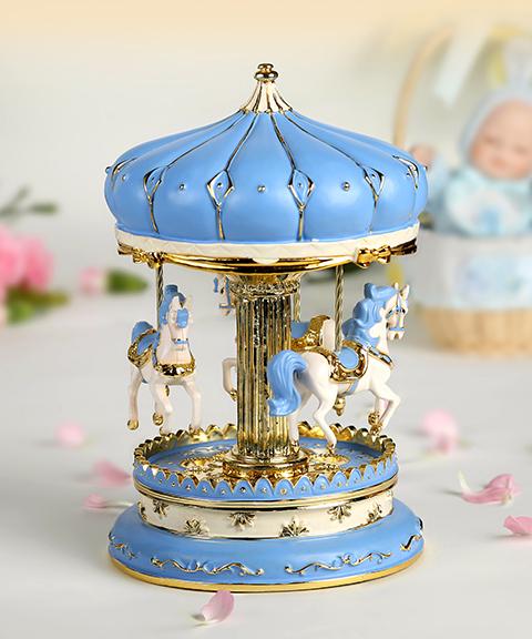 乐加粉蓝金色城堡旋转木马音乐盒