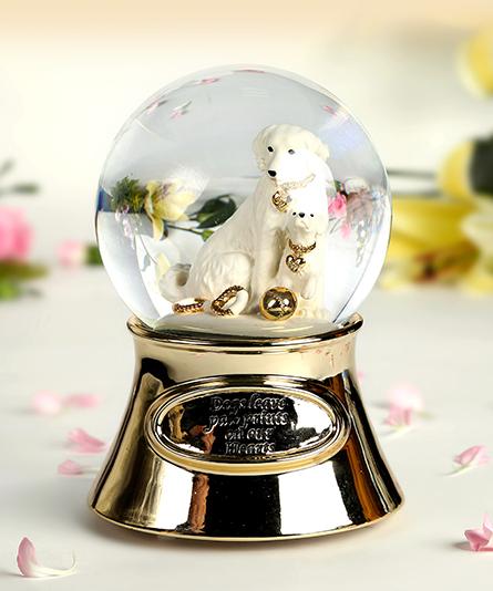 乐加金色小狗水晶球音乐盒