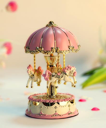 乐加粉红金色伞顶旋转木马音乐盒