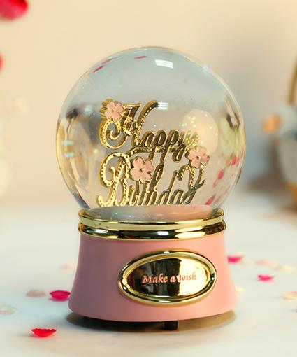 乐加金色生日快乐水晶球音乐盒