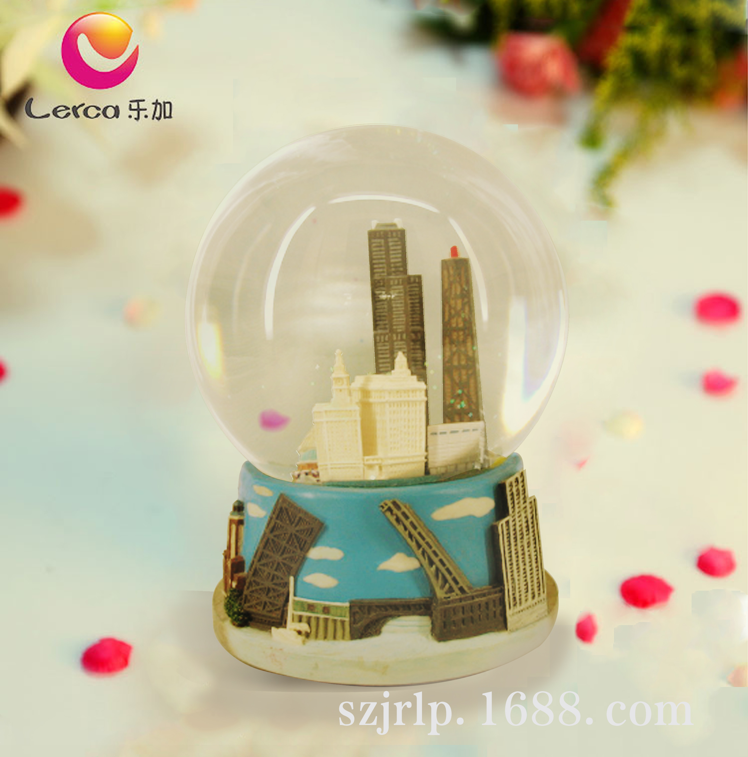 乐加欧式建筑纪念品水晶球音乐盒